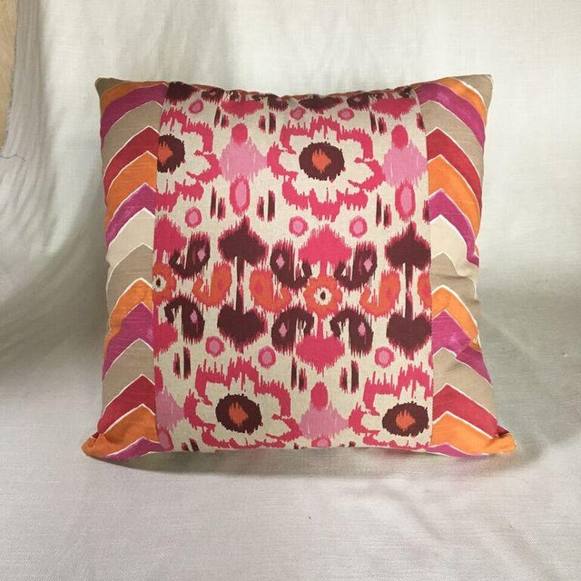 Kim Salmela Pink and Orange Patchwork Pillow - Image 2 of 3
