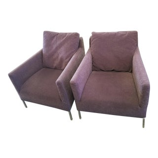Set of 2 B&b Italia Mauve Brown Arm Chairs For Sale