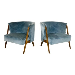 Pair Sculptural Mid Century Modern Lounge Chairs For Sale