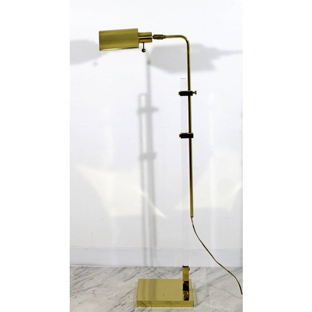 1970s Mid-Century Modern Brass and Lucite Adjustable Floor Lamp Bauer Kovacs Era For Sale - Image 5 of 9