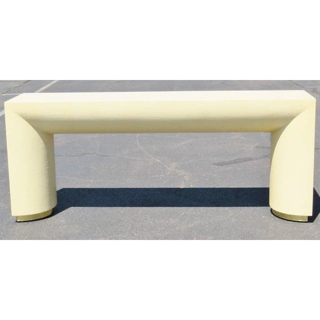 Mid-Century Modern Mid Century Modern Cream Lacquered Canvas and Brass Console Table For Sale - Image 3 of 6