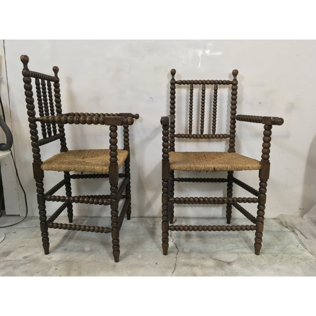 Brown Pair of Antique French Oak Spool Chairs For Sale - Image 8 of 8