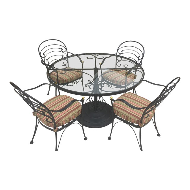 Early 21st Century Woodard Wrought Iron Patio Set- 5 Pieces For Sale