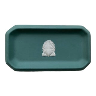Wedgwood Teal Jasperware Shell Trinket Dish For Sale