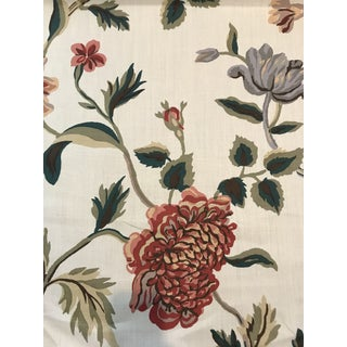 Schumacher Avebury Floral Vine Linen Fabric 3 Plus Continuous Yards For Sale