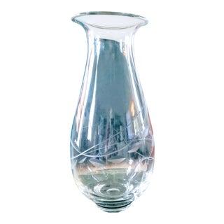 Vintage Tall Etched Crystal Vase For Sale