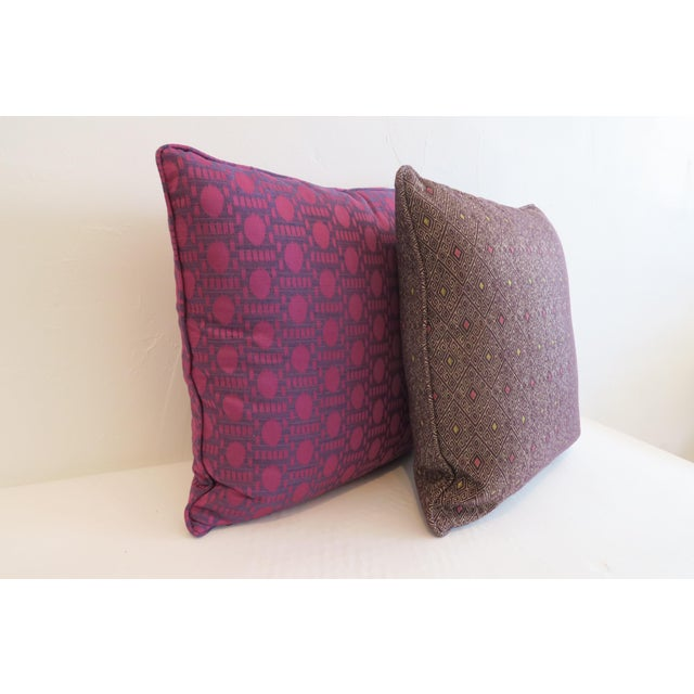 Boho Chic Custom Purple Pattern Pillows- a Pair For Sale - Image 3 of 5