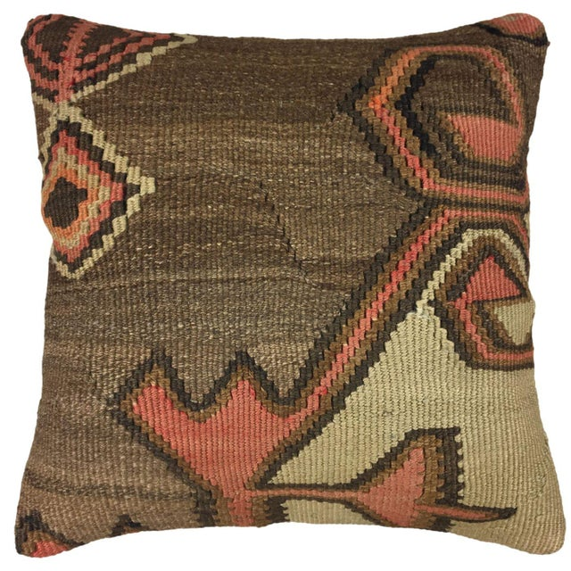 """French Country Brown and Blush Vintage Kilim Pillow   16"""" For Sale - Image 3 of 3"""