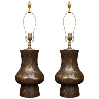Black Table Lamps With Gilt Decoration - a Pair For Sale