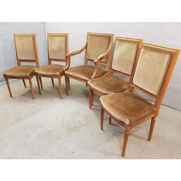 Set of Five French Louis XVI Square Back Vintage Dining Chairs 4 Side Chairs and 1 Armchair For Sale In New York - Image 6 of 13