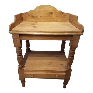 Antique Pine Nightstand With One Drawer English For Sale