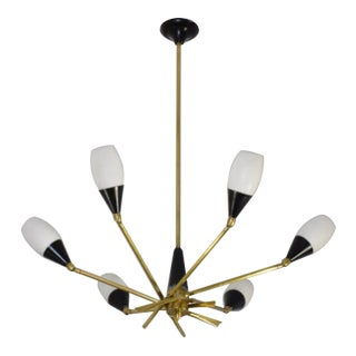 20th Century Italian 6-Arm Chandelier by Stilnovo, 1950s For Sale