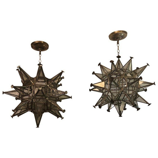 Pair of Sputnik Star Light Fixtures Lead Glass Art Deco Style Not Wired For Sale - Image 13 of 13