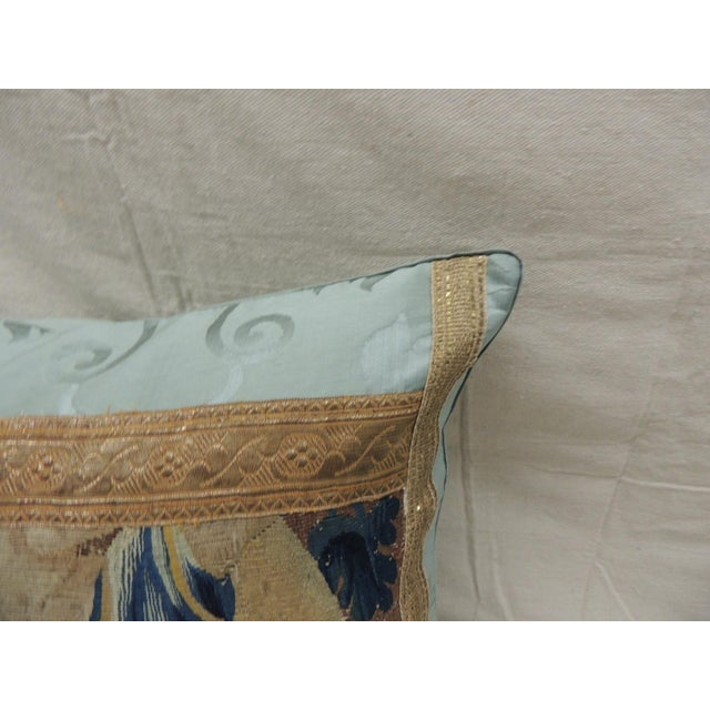 French Antique Aubusson Tapestry Square Decorative Pillow For Sale - Image 3 of 9