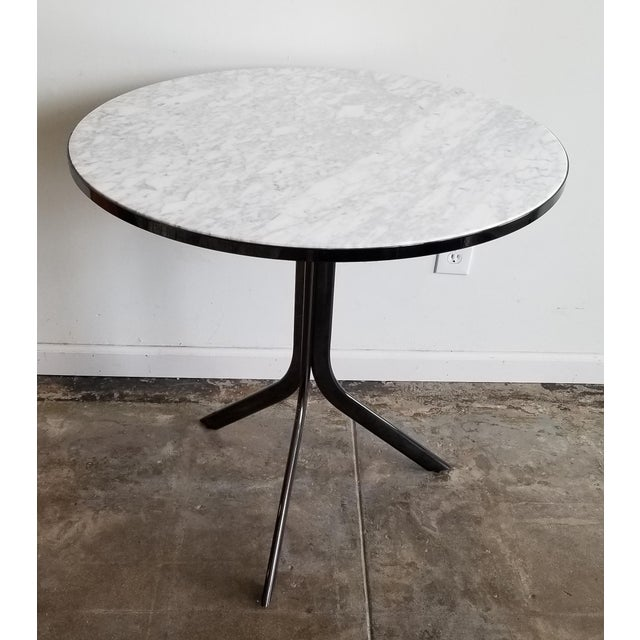 2010s Round Cafe Bistro Table With Carrera Marble Top For Sale - Image 5 of 5