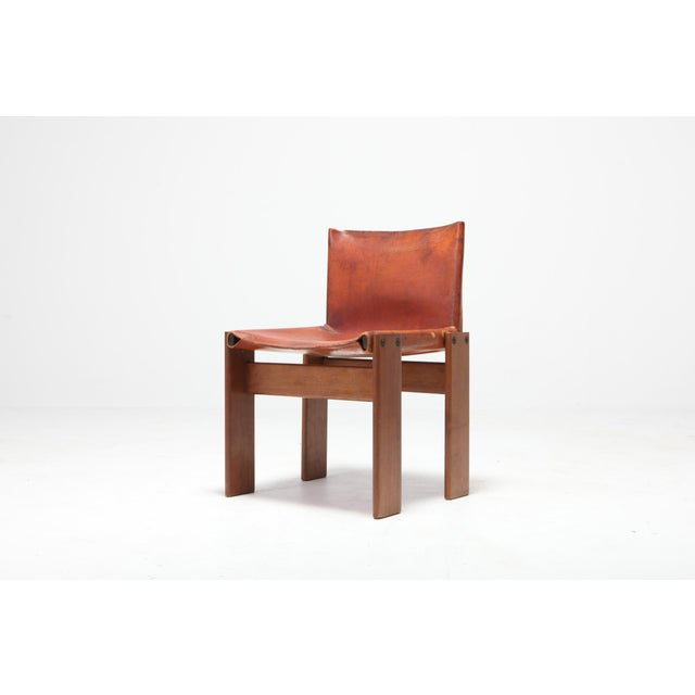 Scarpa 'Monk' Chairs in Patinated Cognac Leather, Set of Four For Sale - Image 6 of 11