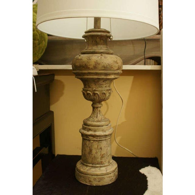 Greiged Carved Baluster Table Lamp - Image 4 of 8