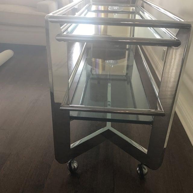 Chrome & Glass Shelf Buffet For Sale - Image 4 of 4