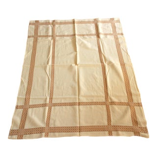 1950s Vintage Cotton Tablecloth in Light-Beige For Sale