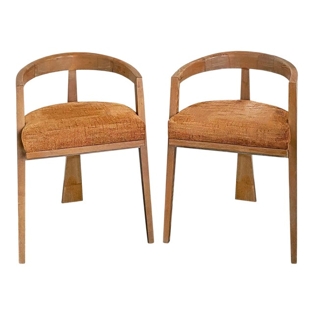 Mid Century Modern Cerused Oak Sculptural French Chairs - a Pair For Sale