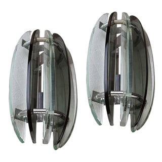 Rare Art-Deco Period Glass Sconces With Chrome Details, European - a Pair For Sale
