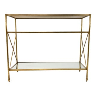 Modern Contemporary Metal and Mirror Gold Console Table For Sale