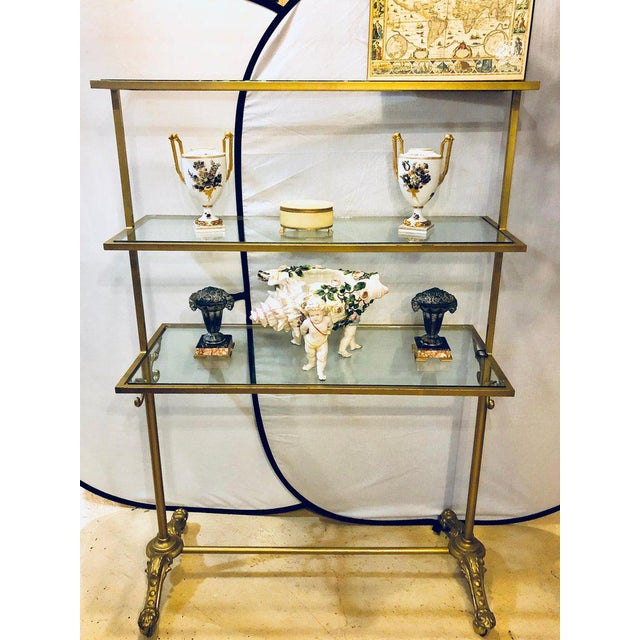 1940s Hollywood Regency Three-Tier Large Bakers Rack Gilt Metal and Glass Shelves For Sale - Image 5 of 10