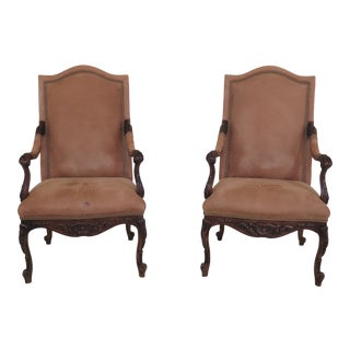 Vintage Hancock & Moore Suede Leather French Open Arm Chairs- A Pair For Sale