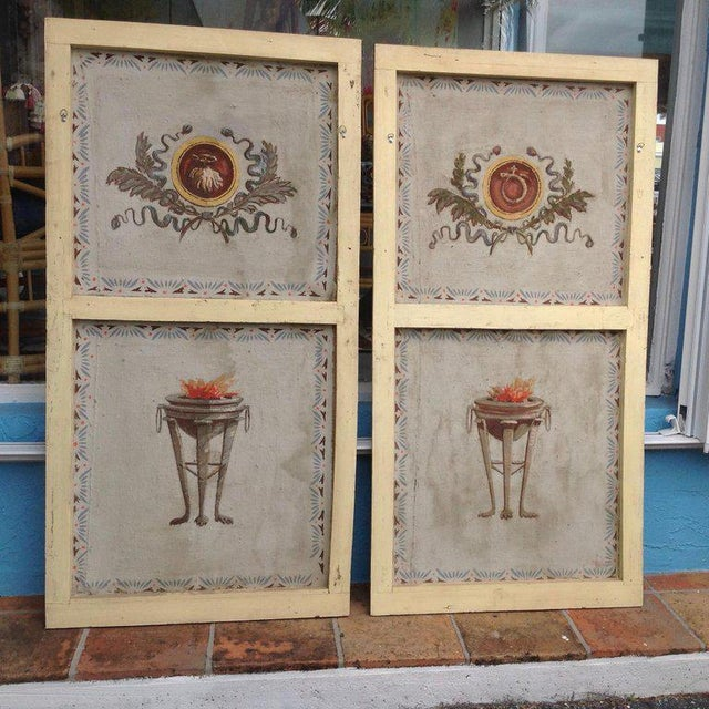 Neoclassical Pair of Antique Painted Canvas Window Panels For Sale - Image 3 of 13
