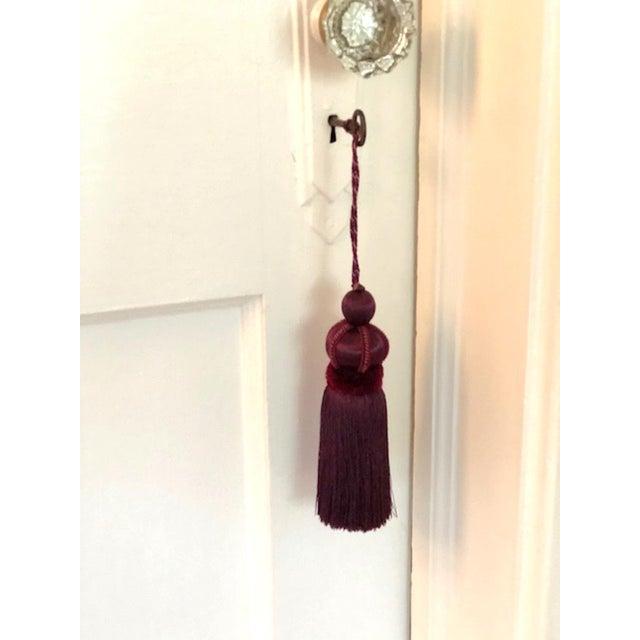Eggplant Mulberry Key Tassel W Cut Velvet Ruche For Sale - Image 8 of 11