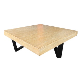 Barzilay Cerused Oak Square Coffee Table With Black Legs