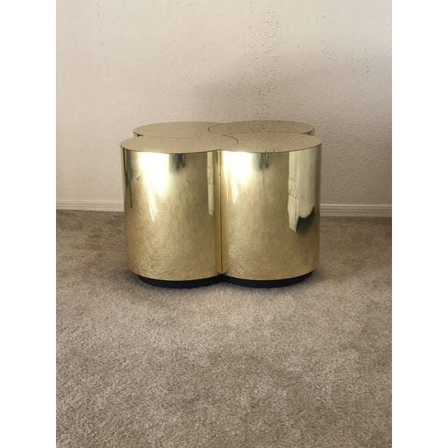 Metal Curtis Jeré Mid-Century Modern Brass Clover Table For Sale - Image 7 of 13