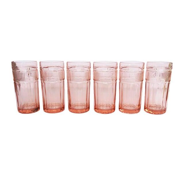 Vintage Anchor Hocking Pink Depression Glasses - Set of 6 For Sale