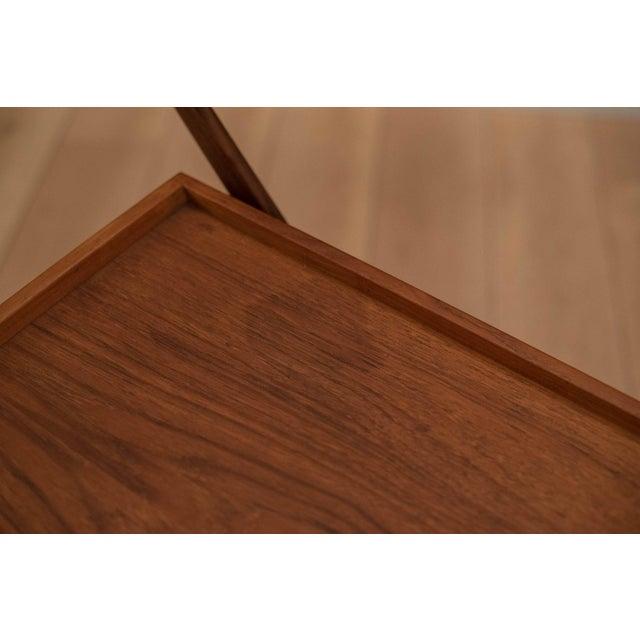 Wood Danish Modern Teak Folding Bar Cart For Sale - Image 7 of 10