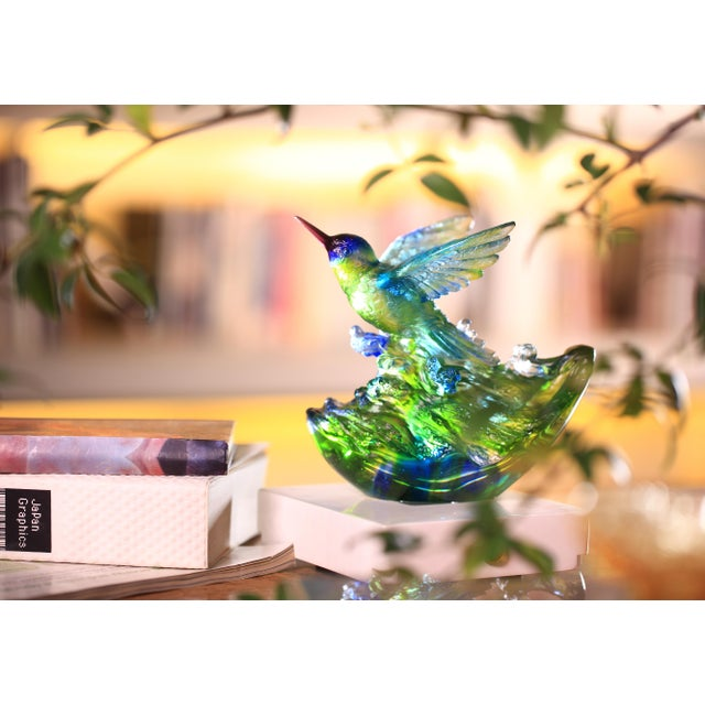 """Metal Liuli Crystal Art Crystal Hummingbird, """"Victory by Daybreak"""" Sculpture (Limited Edition) For Sale - Image 7 of 8"""