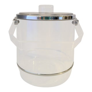 Lucite Chrome Edge Ice Bucket For Sale