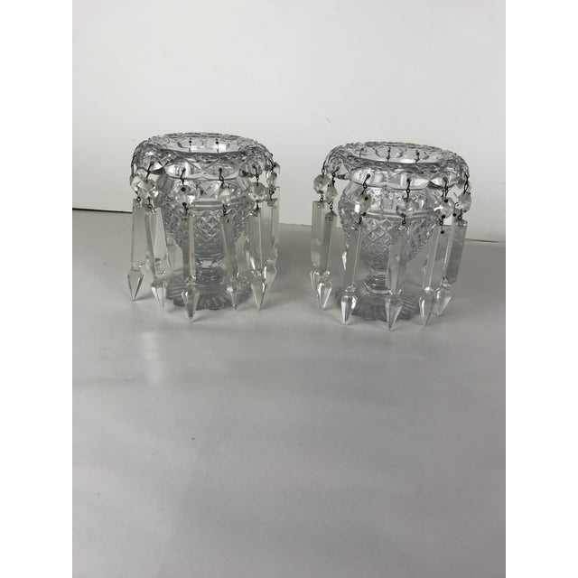 Vintage Crystal Girandoles /Luster Candle Holders - a Pair For Sale - Image 10 of 12