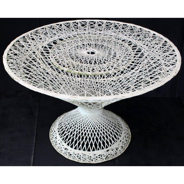 Fiberglass Spun Fiberglass Round Cone Shape Base Outdoor Dining Table Woodard For Sale - Image 7 of 7