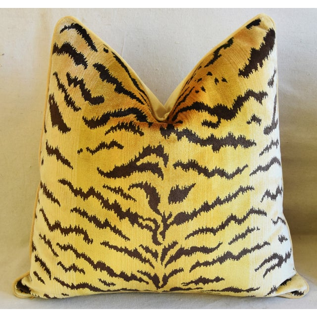 """Scalamandre Le Tigre Tiger Silk Feather/Down Pillow 23"""" Square For Sale In Los Angeles - Image 6 of 7"""