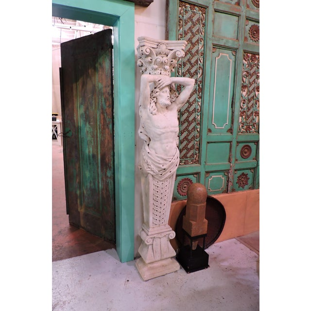 Figurative Pair of 19th Century Carved Stone Caryatids From Venice For Sale - Image 3 of 9