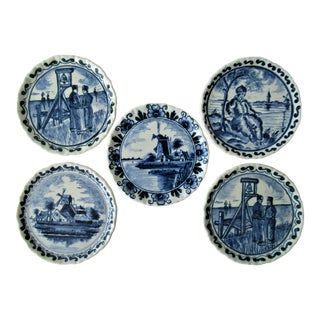 Blue & White Antique Delft Faience Hand-Painted Small Plates Coasters Set of 5 For Sale