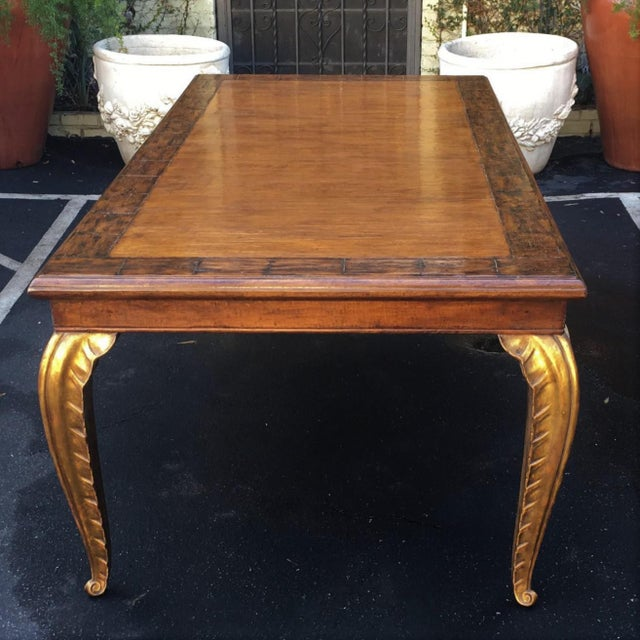 French Carved French Walnut Dining Table W Giltwood Palm Leaf Leg by Randy Esada Designs For Sale - Image 3 of 6