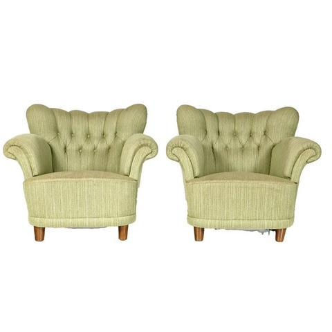 1940s Scandinavian Tufted Lounge Chairs - A Pair - Image 4 of 7