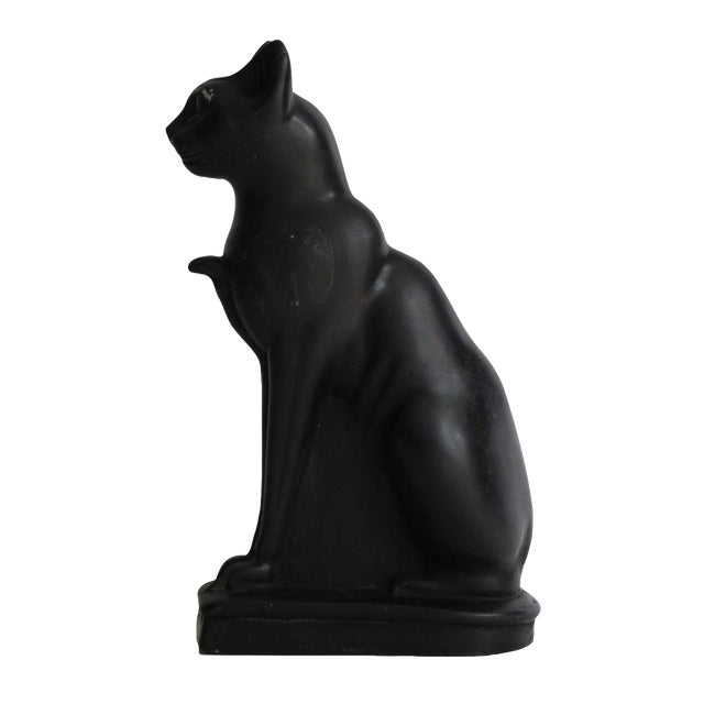 Egyptian Black Cat Carved Stone Sculpture - Image 1 of 10