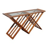 Image of Vintage Mid-Century Modern Oak Entry Table Side Console Table W X Base For Sale