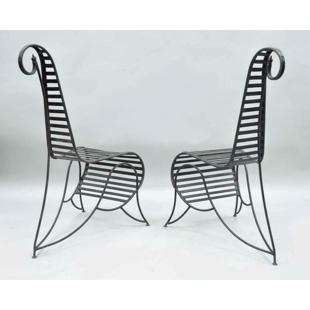 André Dubreuil Vintage Whimsical Steel Iron Spine Lounge Chairs After André Dubreuil - A Pair For Sale - Image 4 of 10