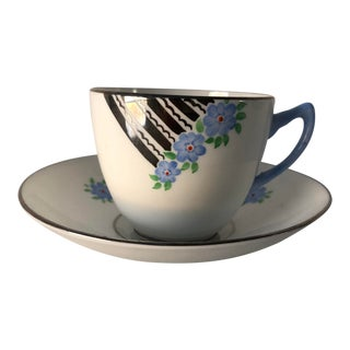 Art Deco Style Windsor Bone China Teacup & Saucers For Sale