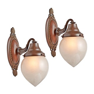 Pair of Classical Revival Entry Sconces W/ Etched Teardrop Shades Circa 1920s