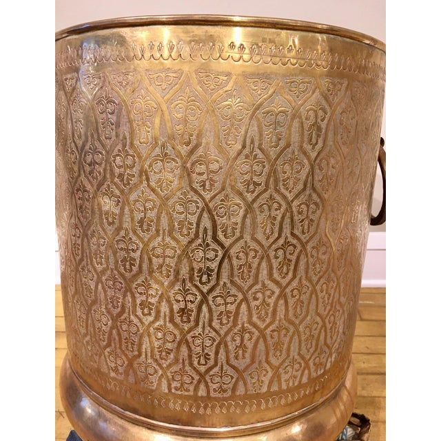 Late 20th Century Moroccan Brass Planter For Sale - Image 4 of 12