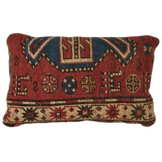 Antique Kazak Carpet Pillow For Sale